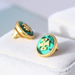 Tory Burch Shell Natural Stone Lucky Icon Earrings